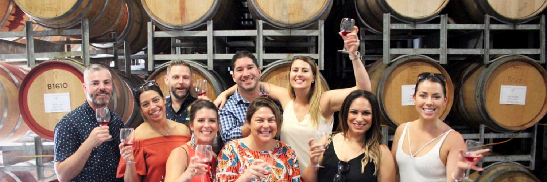 Group wine tasting at winery on Tash Maree Tour