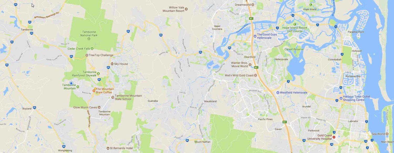 Regional Google Map Tamborine Mountain