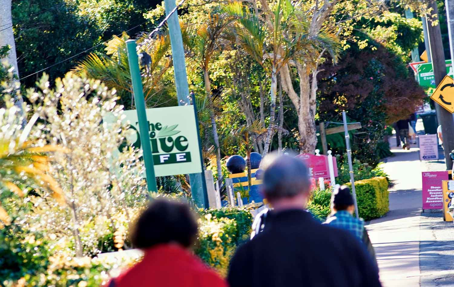Shoppers walking along Gallery Walk on Tamborine Mountain