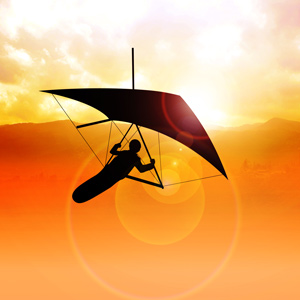 Hang Glider Soaring at Sunrise Tamborine Mountain