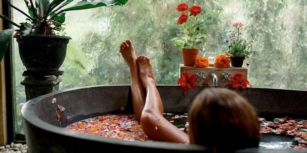 Girl relaxing in amazing spa in accommodation on Tamborine Mountain