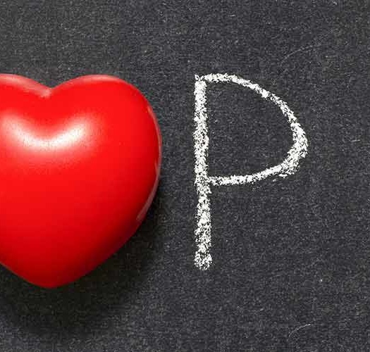 Top 10 text with heart on blackboard